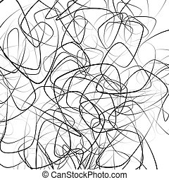 Random squiggly, chaotic lines Artistic monochrome image
