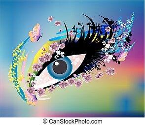 magical, mysterious eye, - composition of the eye surrounded...