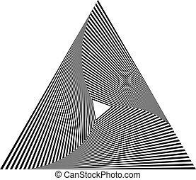 Irradiar, contorno, triangle(s), aislado, en, blanco,