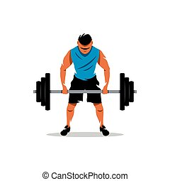 Vector Weightlifting Cartoon Illustration. - The athlete...