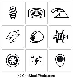 Vector Set of Hydroelectric Station Icons Lamp, Dam, River,...