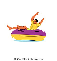 Vector Water Tube riding Cartoon Illustration. - The man in...