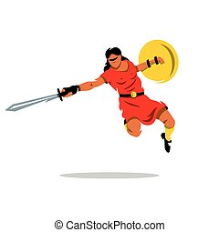 Vector Woman Warrior Cartoon Illustration - A woman with a...