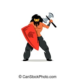 Viking warrior with ax and shield. Vector Cartoon...