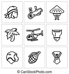 Vector Set of The Vietnam War Icons Soldier, grenade...