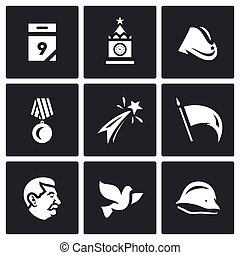 Holiday - 9 may. Vector Set of Victory day Icons....