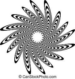 Circular shape with spiral, vortex distortion effect Black...