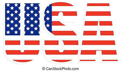 Typography with United States flag clipped in it