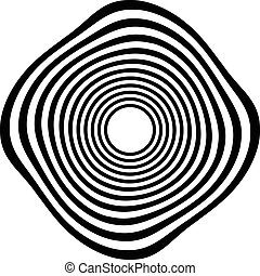 Circular shape with spiral, vortex distortion effect Black...