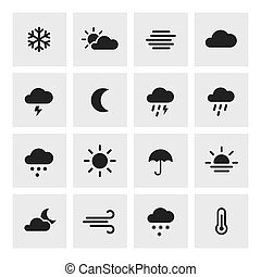 Set of weather forcast flat icons on square - Weather...