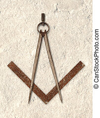 Masonic - compas and square depicting the logo of...