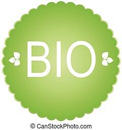 bio green Icon bio con Sign and label
