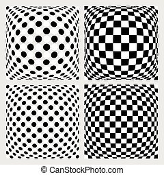 Set of dotted checkered backgrounds, patterns Distorted...