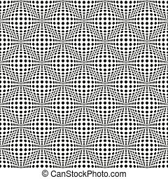 Seamless 3d dotted pattern with bulging distortion effect