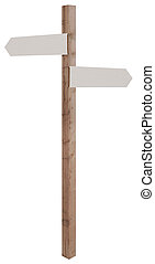 blank guide post - wooden sign post with blank direction...