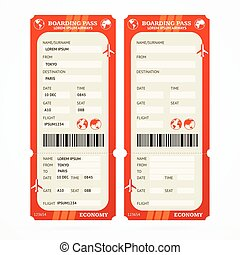 Boarding Pass Ticket Set. Vector