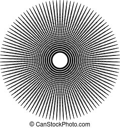 Abstract radial, dotted element with oval shapes.