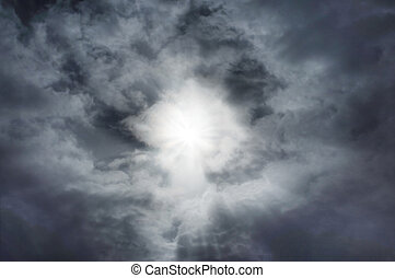 Rapture - Sunburst in clouds with faint Christ figure...