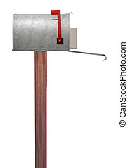 Mailbox side view - A standard galvanized mailbox on post...