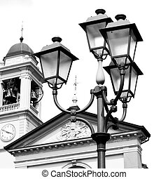 building europe old christian ancient in street lamp -...