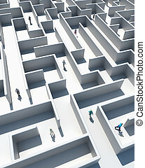 Maze to Success - High Resolution 3d art showing Business...