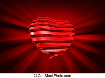 Ribbon Heart - A ribbon curled into the shape of a heart on...