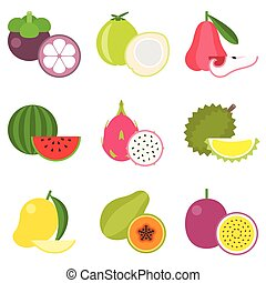 Fruit icons set 2, tropical fruit: durian, mangosteen,...