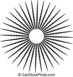 Abstract monochrome graphic with radiating dotted pattern