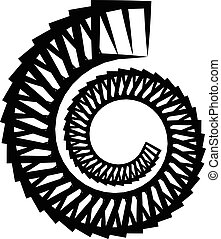 Abstract monochrome circular, spirally element on white