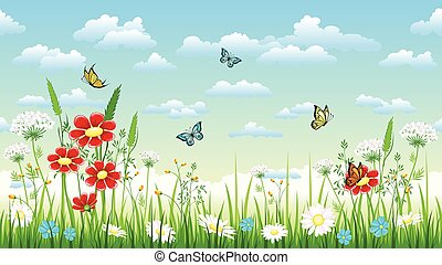Seamless flower background with flowers and butterflies