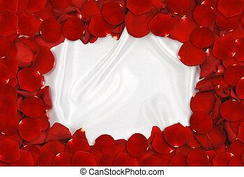Rose Petal Frame - Rred rose petals forming a frame around...