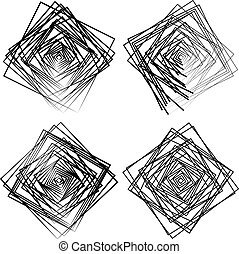 Set of random, intersecting squares. ARtistic design...