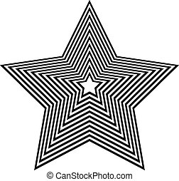 Abstract geometric star shape on white. Beveled 3d star.