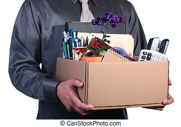 Dismissal, the man has control over a cardboard box with...