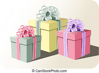 Gift boxes - Colorful gift boxes with pretty ribbons on a...