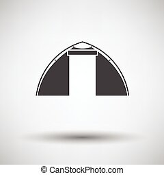 Touristic tent icon on gray background with round shadow...