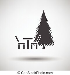 Park seat and pine tree icon on gray background with round...