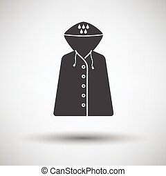 Raincoat icon on gray background with round shadow. Vector...