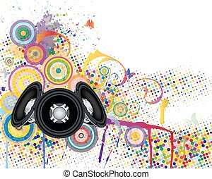 Musical background with grunge elements