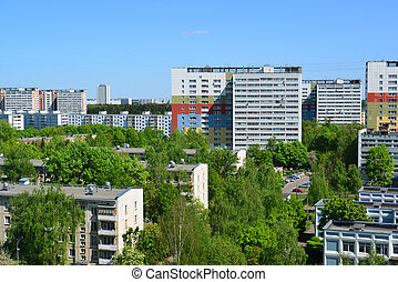 Top view of Zelenograd in summer day, Russia