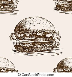 Burger sandwich sketch seamless pattern vector - Burger...