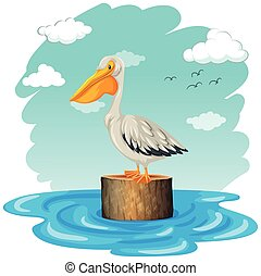 Pelican standing on log illustration