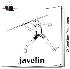 Doodle of man doing javelin illustration