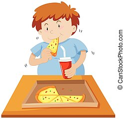 Man eating pizza and drinking soda