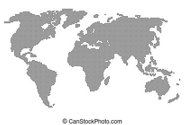 Abstract computer graphic World map of gray round dots....