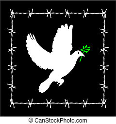 No freedom - Dove of peace framed in a barbed wire. Vector...