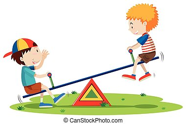 Two boys playing seesaw in the park illustration