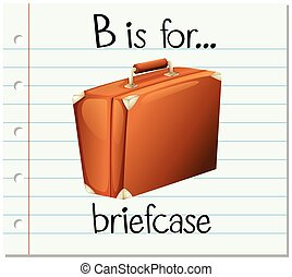 Flashcard letter B is for briefcase illustration