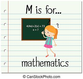 Flashcard letter M is for mathematics illustration