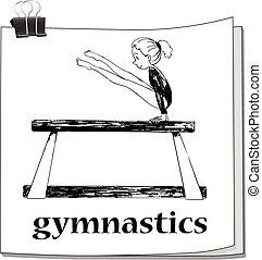 doodle, menina, ginástica